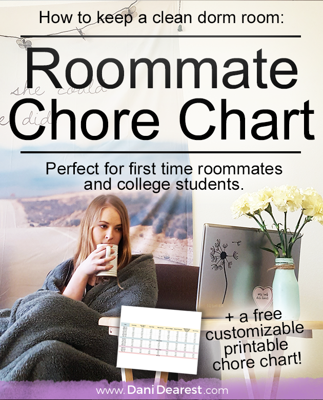 Keep a clean dorm room with this free roommate chore chart printable! #College