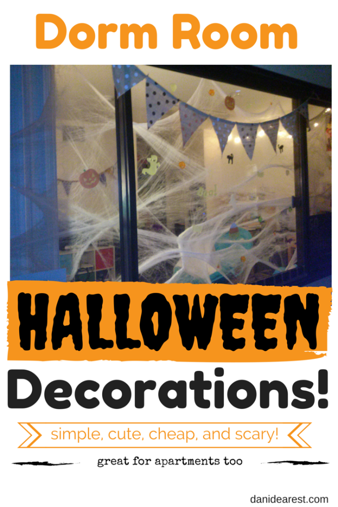 Simple, cute, cheap and spooky decoration ideas for a college dorm room! #halloween #dormroom #college From: http://danidearest.wordpress.com/
