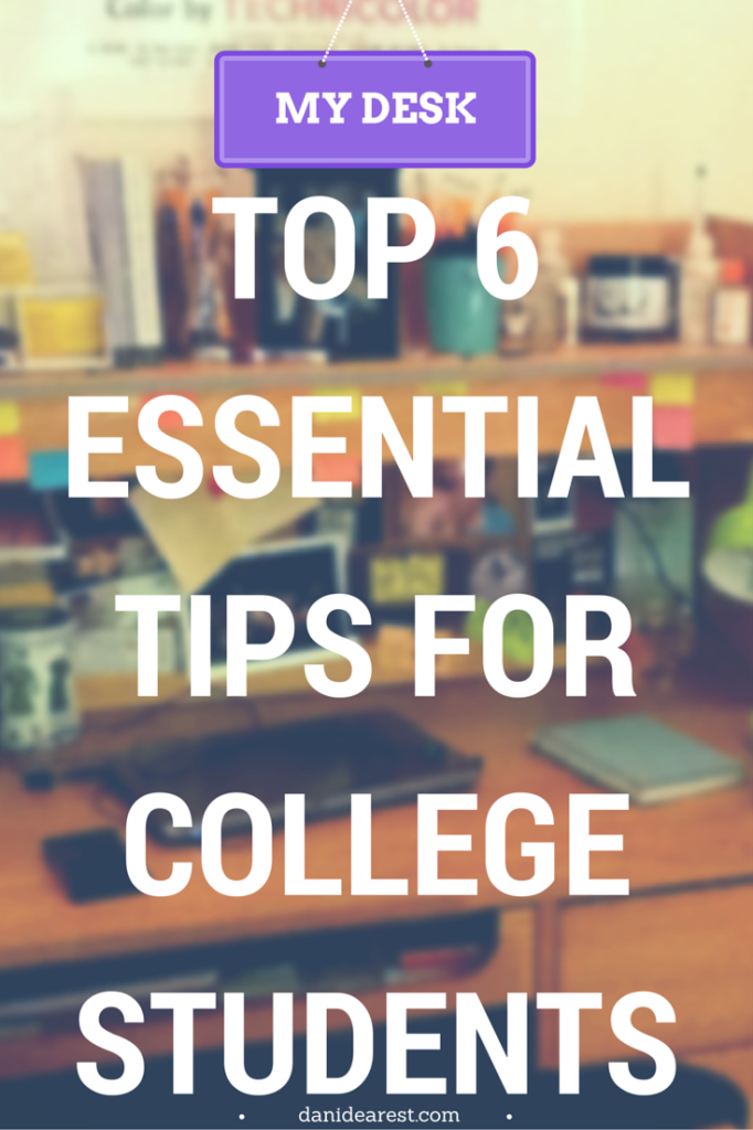 My Desk: Top 6 Essential Tips for College Students! How to use a planner, make an assignment schedule, use OneNote for notes and to-do lists, create a post-it note calendar... and so much more! #college
