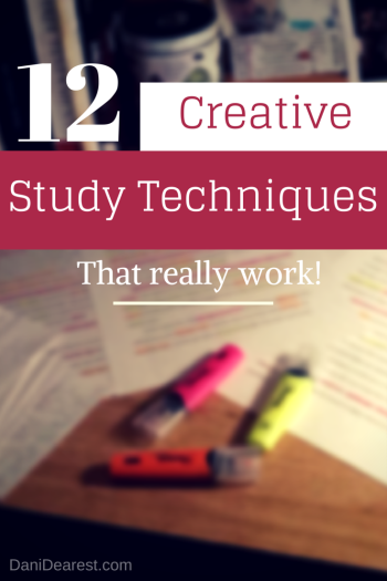 12 Creative Study Techniques that really work! #college #study https://danidearest.com/