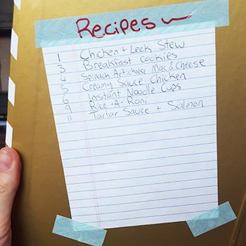 Table of Contents Closer Recipe book