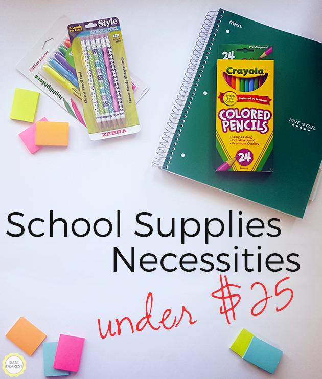 All your school supplies necessities for under $25! #college #school #education