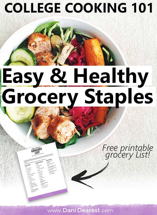 Cooking healthy in college doesn't have to be hard! When you know what to get from the grocery store it can make it simple. Check out this easy and healthy grocery staples list to get you started on becoming a better you this year!