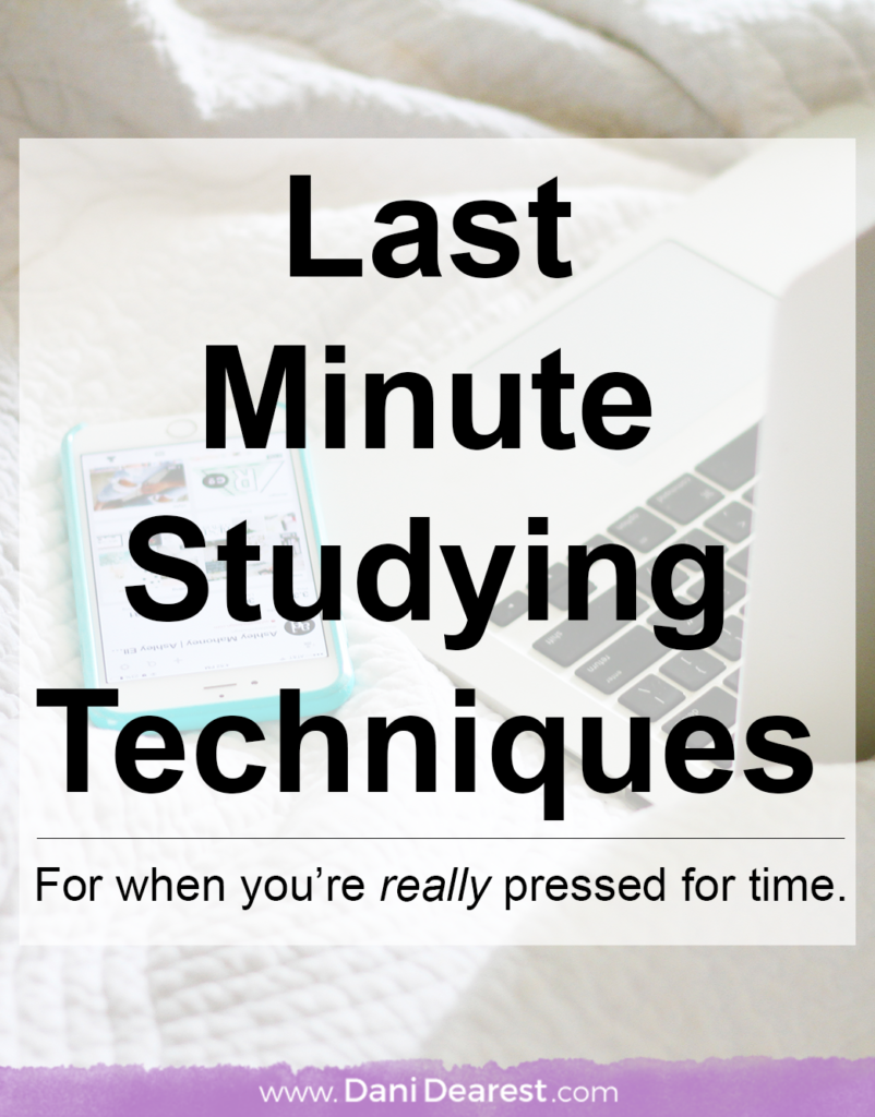 We're talking REAL last minute studying techniques here. Sometimes life gets in the way and you need some tried and true last second study tips to get you through that college exam in a couple of hours - this is for you.