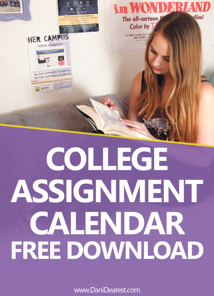Never miss an assignment in college: the key to getting good grades in college. Assignment calendar method for assignment organization. College organization!